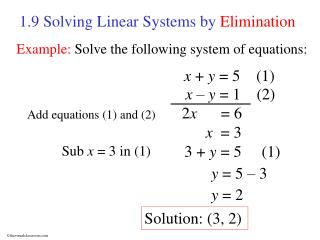 1.9 Solving Linear Systems by  Elimination