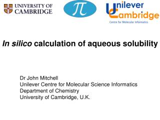 In silico  calculation of aqueous solubility