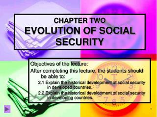 CHAPTER TWO EVOLUTION OF SOCIAL SECURITY