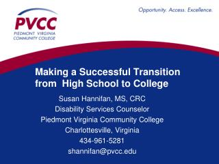 Making a Successful Transition from  High School to College
