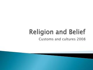 Religion and Belief