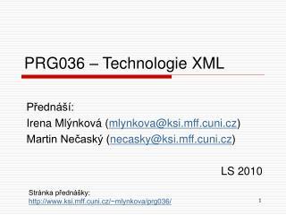 PRG036  – Technologie XML
