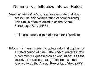 Nominal -vs- Effective Interest Rates
