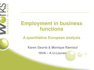 Employment in business functions A quantitative European analysis