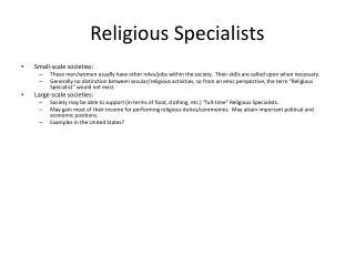 Religious Specialists