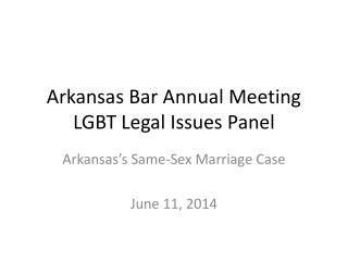 Arkansas Bar Annual Meeting LGBT  Legal Issues Panel