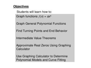 Polynomial Functions: Graphs, Applications, and Models