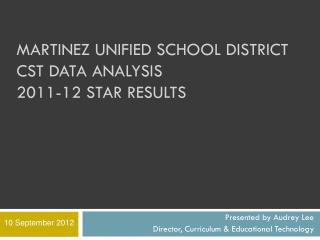 Martinez Unified School District  CST DATA ANALYSIS 2011-12 STAR results
