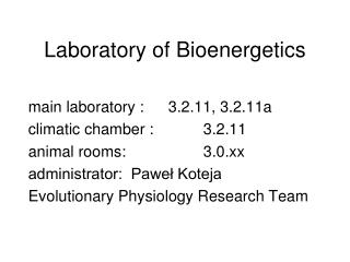 Laboratory of Bioenergetics