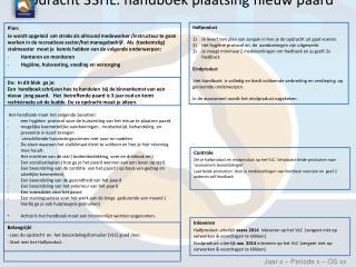 Opdracht 33HL: handboek plaatsing nieuw paard