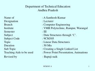 Department of Technical Education Andhra Pradesh Name of                      		: A Santhosh Kumar