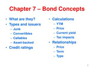 Chapter 7 – Bond Concepts