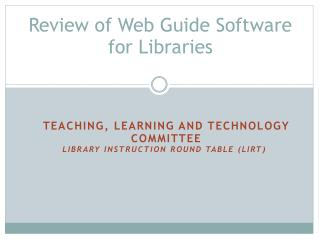Review of Web Guide Software for Libraries