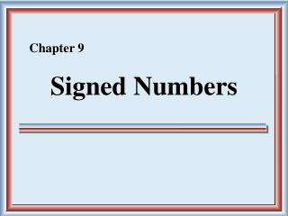 Signed Numbers
