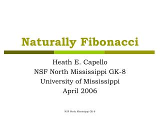 Naturally Fibonacci