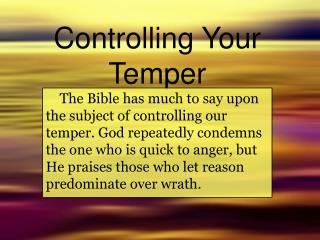 Controlling Your Temper