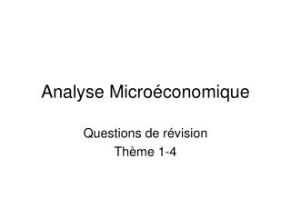 Analyse Micro conomique