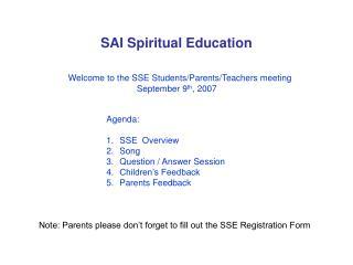 SAI Spiritual Education
