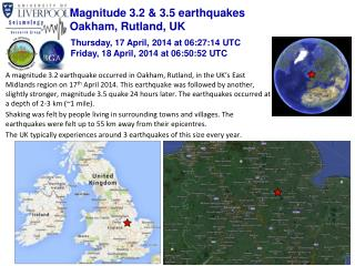Magnitude 3.2 & 3.5 earthquakes Oakham, Rutland, UK