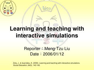 Learning and teaching with interactive simulations