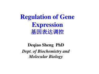 Regulation of Gene Expression 基因表达调控