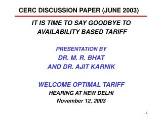 CERC DISCUSSION PAPER (JUNE 2003)