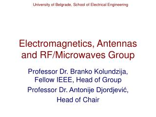 Electromagnetics, Antennas and RF/Microwaves Group