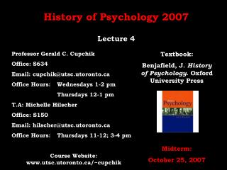 History of Psychology 2007 Lecture 4
