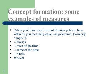 Concept formation: some examples of measures