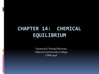 Chapter 14:   Chemical Equilibrium