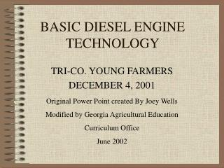 BASIC DIESEL ENGINE TECHNOLOGY