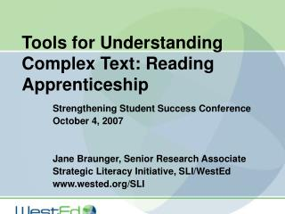 Tools for Understanding Complex Text: Reading Apprenticeship