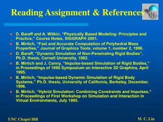 Reading Assignment & References
