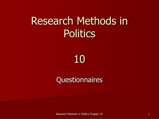 Research Methods in Politics 10