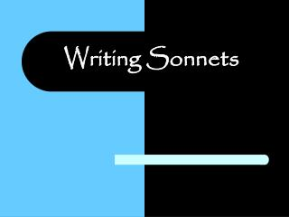 Writing Sonnets