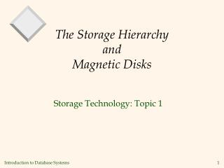 The Storage Hierarchy and Magnetic Disks