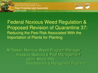 Federal Noxious Weed Regulation &