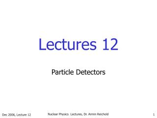 Lectures 12