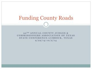 Funding County Roads