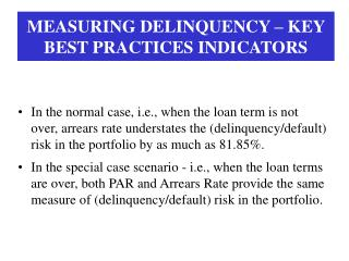 MEASURING DELINQUENCY – KEY BEST PRACTICES INDICATORS