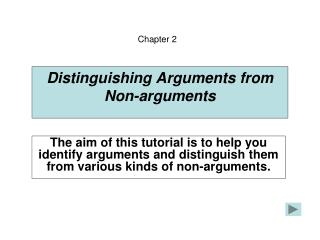 Distinguishing Arguments from Non-arguments