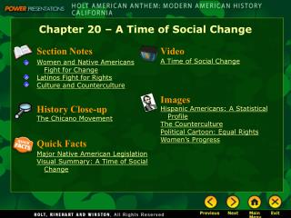 Chapter 20 – A Time of Social Change