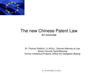 The new Chinese Patent Law An overview