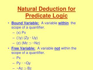 Natural Deduction for Predicate Logic