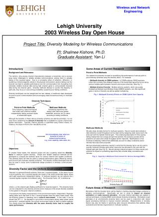 Project Title:  Diversity Modeling for Wireless Communications