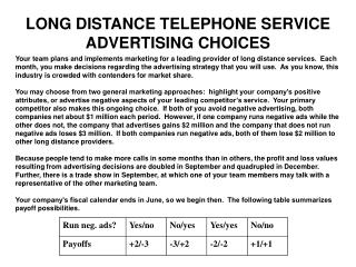 LONG DISTANCE TELEPHONE SERVICE ADVERTISING CHOICES