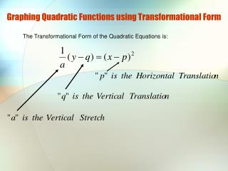 Graphing Quadratic Functions using Transformational Form