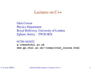 Lectures on C++