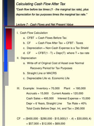 "Calculating Cash Flow After Tax ""Cash flow before tax times (1 - the marginal tax rate), plus"