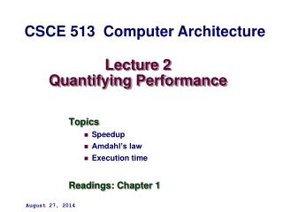 Lecture 2 Quantifying Performance